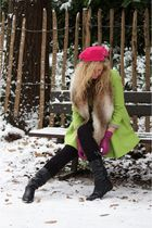 River Island coat - vintage boots - DIY hat - H&M scarf