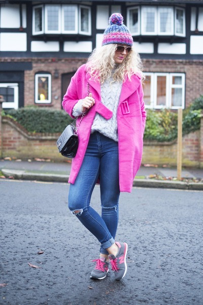 hot pink OASAP coat - blue asos jeans - hot pink New Balance sneakers