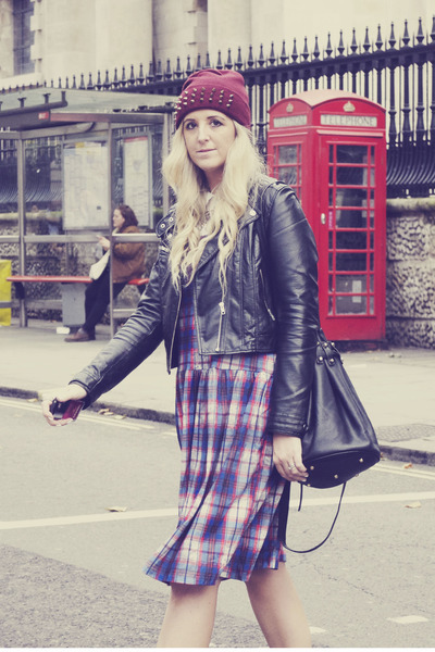 navy tartan asos dress - maroon Primark shoes - maroon beanie H&M hat