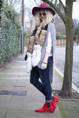 red Marks and Spencer boots - navy next jeans - ruby red Colette hat