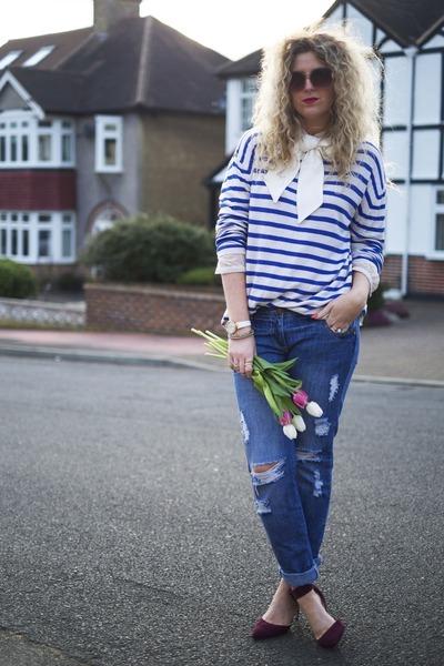 navy H&M jumper - blue new look jeans - maroon Zara heels