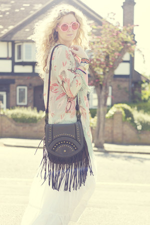 dark brown fringe Primark bag - aquamarine kimono glamarous jacket
