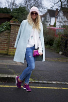 light blue pastel blue OASAP coat - maroon clutch dune bag