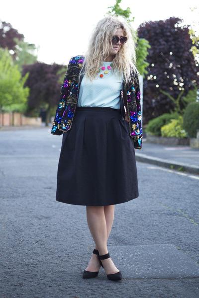 black Beyond Retro jacket - black H&M skirt - aquamarine Primark top