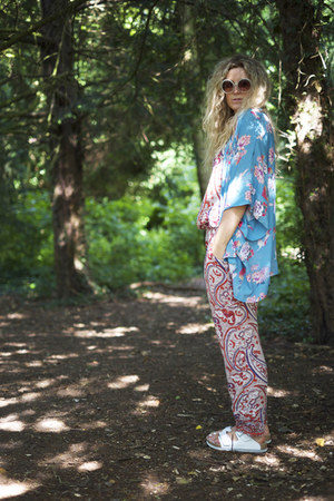 sky blue kimono In Love with Fashion coat - salmon jumpsuit River Island romper