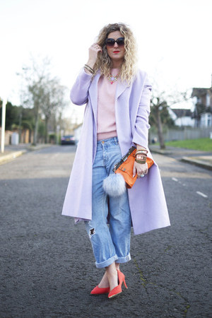 periwinkle asos coat - light blue boyfriend jeans H&M jeans
