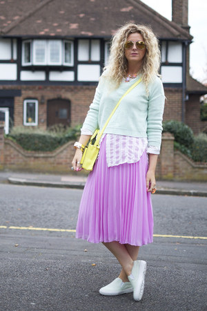 bubble gum pleated skirt asos skirt - yellow Primark bag