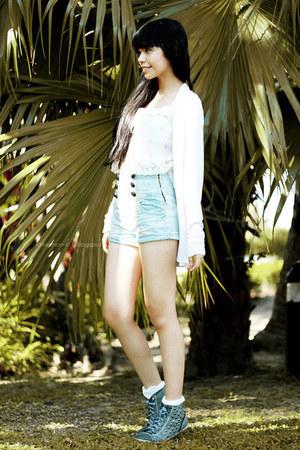 light blue ROMP shorts