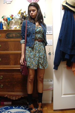 blue banana republic jacket - blue Zara dress - brown Marc Fisher shoes - brown