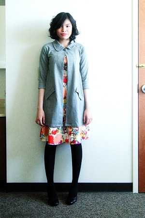 Redhead coat - APNY dress - merona tights - thrifted shoes - Charlotte Russe acc