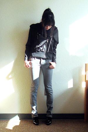 black Bazaar scarf - black Tomato jacket - gray Chocolate & Co jeans - black thr
