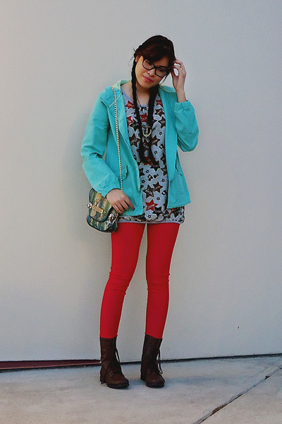 brown Payless boots - aquamarine Mossimo jacket - silver landmark sweater