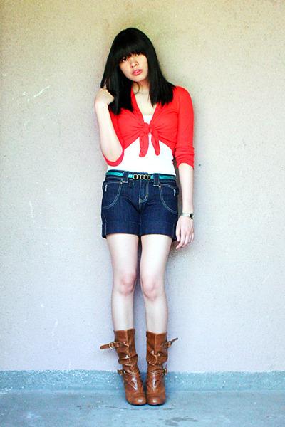 红棉花 - 羊毛衫白苔藓 - 顶部蓝色番茄短裤 -  relb-robert-w_400