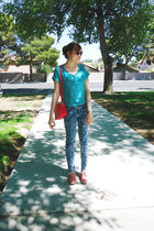 red taiwan bag - sky blue Aeropostale jeans - white Guess sunglasses