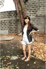 Black-cour-carr-blazer-white-f-h-top-gray-thrifted-shorts-brown-hdy-shoe