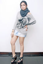 silver Topshop sweater - gray American Apparel scarf - blue Zara skirt - black A