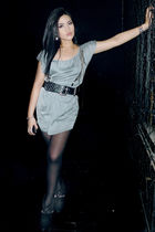 silver Zara dress - black Topshop belt - black Zara boots