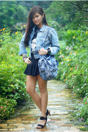 DKNY thrift jacket - Topshop top - Topshop skirt - Zara shoes - Zara accessories