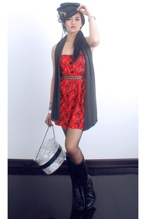 black Promod boots - red eiffel tower Topshop dress