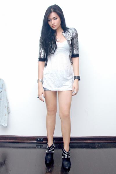 Anthology jacket - Topshop top - Zara shorts - Zara boots