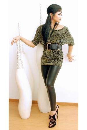 Topshop top - belt - American Apparel leggings - Zara shoes - Evita Peroni acces