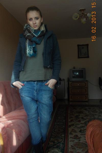 scarf - boots - Bershka jeans - random jacket - fishbone blouse