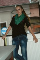 H&M scarf - boots - jeans - black shirt - light blue bracelet