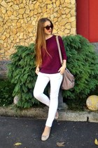 maroon sweater - light purple Mimi Boutique bag - sunglasses