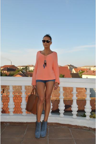 Newlook blouse - BBup boots - Zara bag - ray-ban glasses