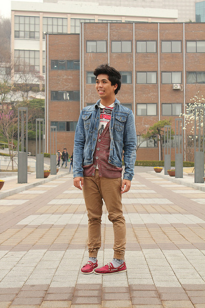 Men 39 S Blue Denim Topman Jackets Red Boat Shoes Sperry Topsider Shoes Tribal Seoul By