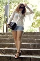 asos bag - Forever 21 shorts - H&M sandals - h&m divided blouse
