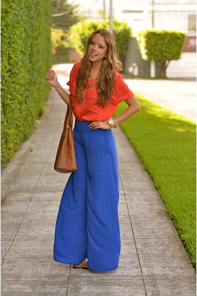 blue ACCENTO pants - brown tory burch bag - carrot orange H&M blouse