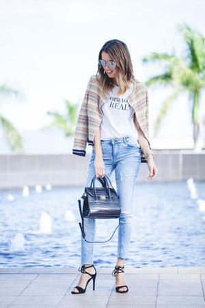 Zara jacket - dior sunglasses - Steve Madden heels