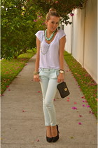 black tory burch bag - white Zara shirt - aquamarine Bershka pants