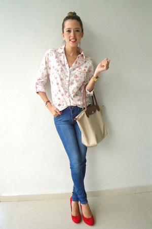 Steve Madden shoes - Zara jeans - Long Champ bag - Forever 21 blouse