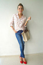 Steve Madden shoes - Zara jeans - Long Champ bag - Forever 21 blouse
