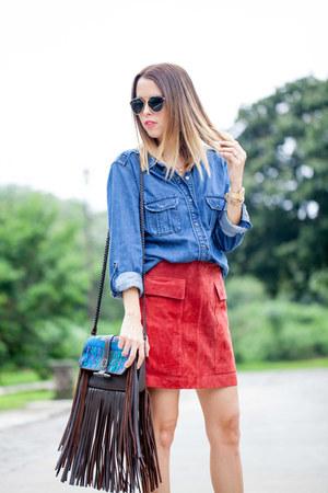 sude Zara skirt - leather marias bag