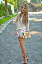 Zara sweater - tory burch bag - Zara shorts - Zara heels