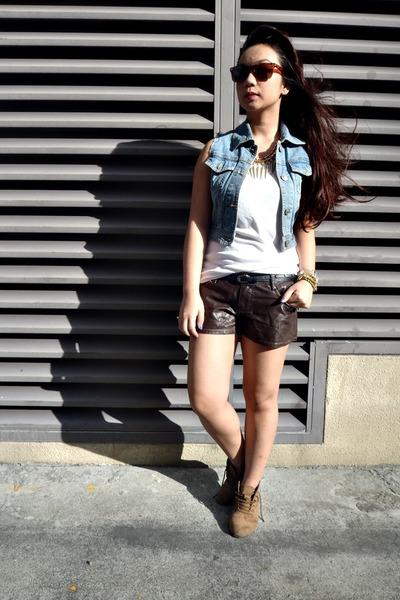 dark brown leather closet shorts - brown Bazaar boots - white dep store shirt