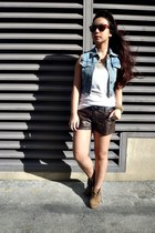 dark brown leather closet shorts - brown Bazaar boots - white dep store shirt