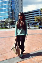 turquoise blue knitted thrifted sweater - camel landmark bag