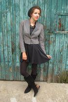 vintage blazer - thrifted dress - vintage boots - vintage necklace - H&M hat