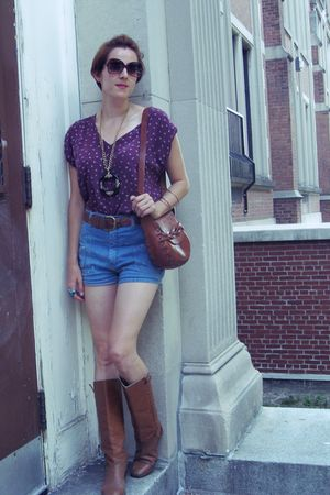 Lux shirt - vintage shorts - vintage boots - vintage purse - vintage necklace