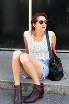 vintage blouse - vintage guess shorts - vintage boots - vintage purse - Forever