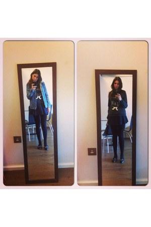 Topshop shoes - Topshop jacket - Zara bag - Topshop sweatshirt - Zara skirt