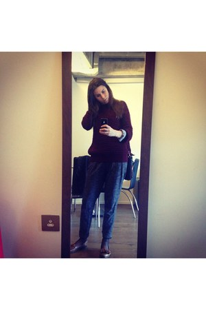 brown Topshop shoes - Zara shirt - gray Zara pants - brick red Topshop jumper