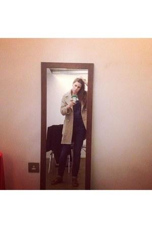 Zara coat - Topshop shoes - Zara jumper - H&M iphone case