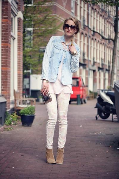 tan asos boots - light blue maison scotch shirt - light pink River Island pants