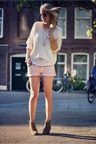light pink Zara shorts - nude asos boots - off white Mango sweater