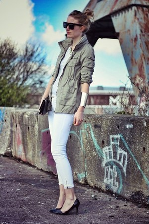 army green H&M jacket - white Zara jeans - black H&M Trend heels